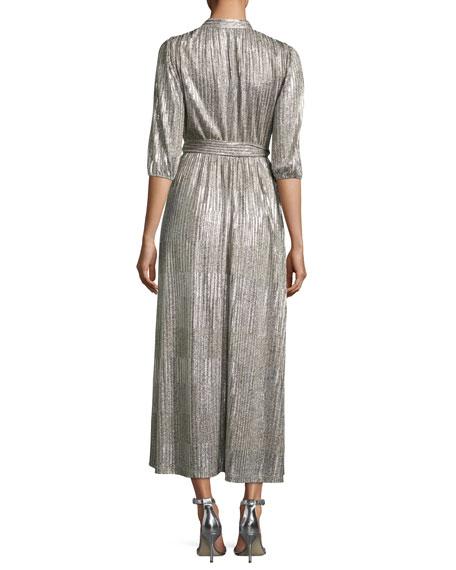Katina Metallic Midi Cocktail Wrap Dress