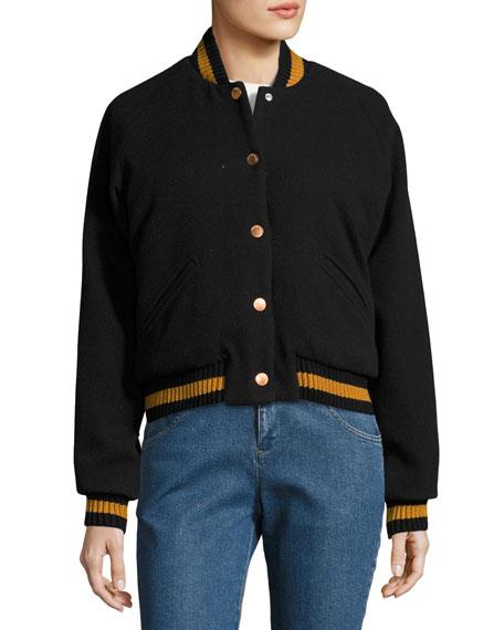 Varsity Logo Wool Bomber Jacket