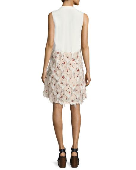 Frayed Fil Coupe Sleeveless Day Dress