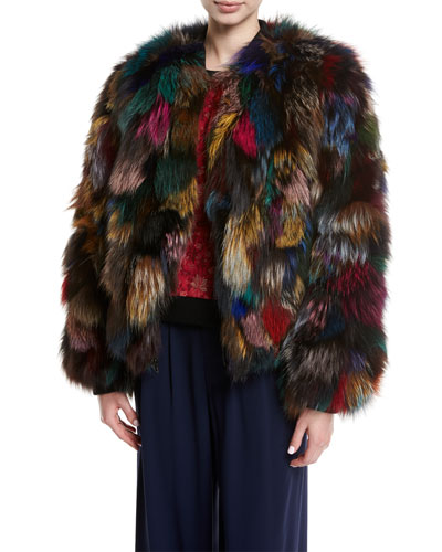 Becky Multicolor Reversible Fur Bomber Jacket