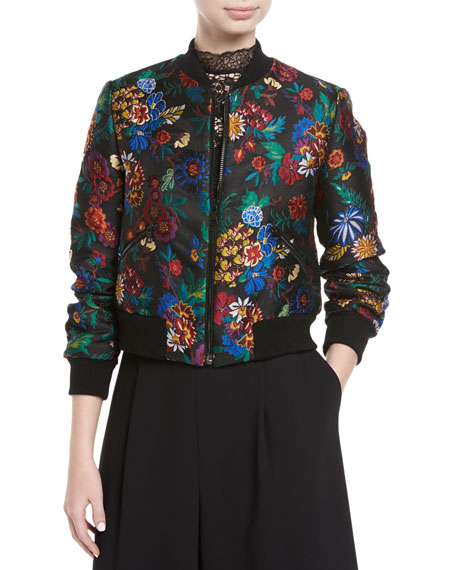 Lonnie Floral-Jacquard Cropped Bomber Jacket