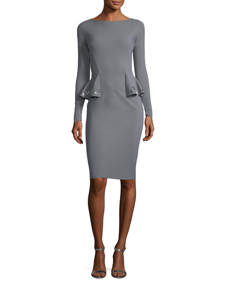 Gervaise Long-Sleeve Peplum Cocktail Sheath Dress