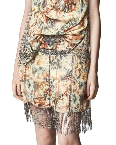 The Orian Printed Mini Skirt w/ Embellishments