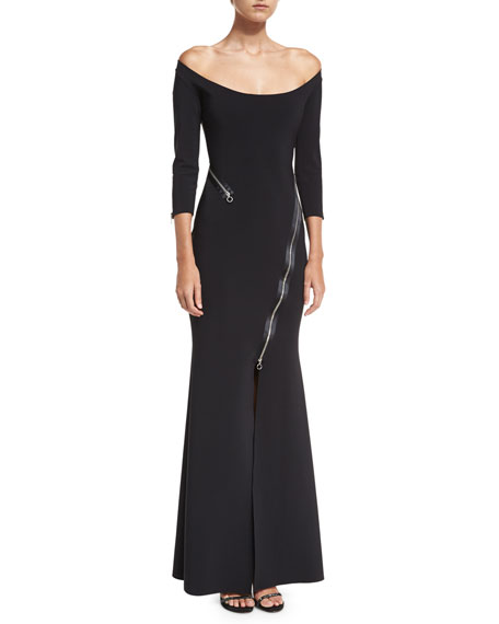 Elektra Zip Off-the-Shoulder Long-Sleeve Evening Gown