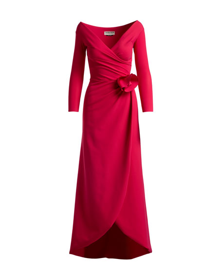 Kay Faux-Wrap Long-Sleeve Evening Gown