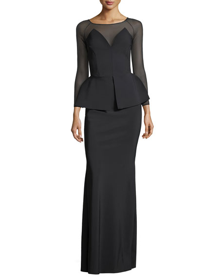 Afef Illusion Long-Sleeve Peplum Evening Gown
