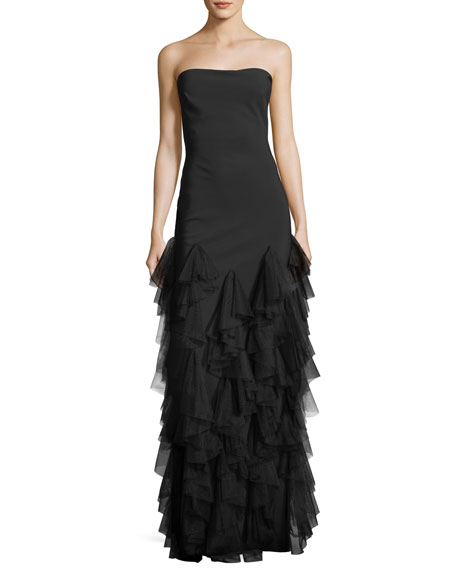 Ourida Strapless Ruffled Evening Gown