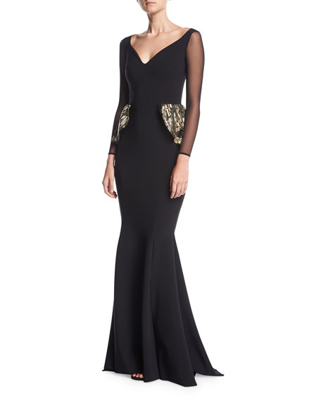 Garcelle Illusion Long-Sleeve Evening Gown w/ Sequin Flaps