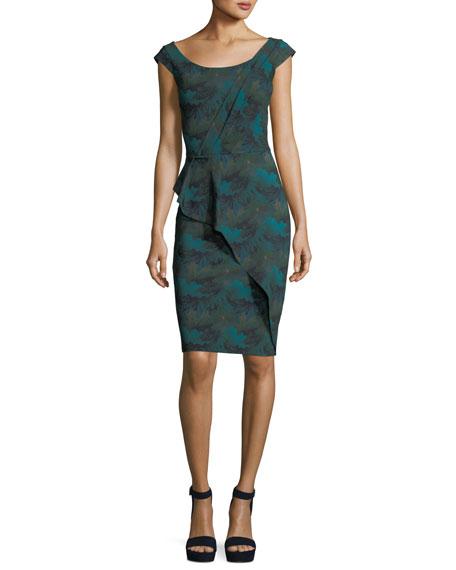 Phillida Scoop-Neck Printed Sheath Cocktail Dress