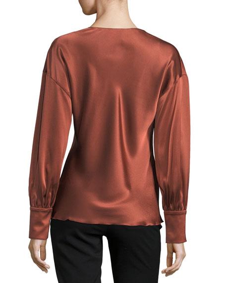 Lentz Tie-Front Long-Sleeve Silk Satin Blouse