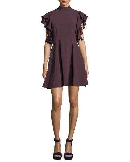 Reina Mock-Neck Ruffled Sleeves Crepe Mini Dress