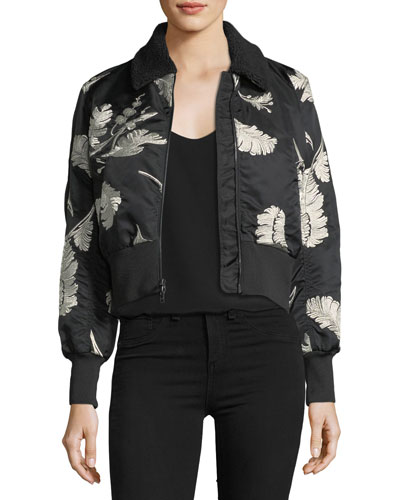 Renley Embroidered Cropped Bomber Jacket