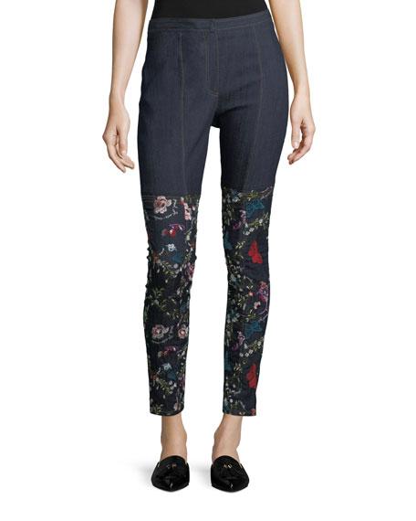 Eva-Marie Skinny-Leg Denim Pants w/ Floral Embroidery