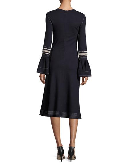 Jewel-Neckline Trumpet Sleeves Embroidered Jersey Dress