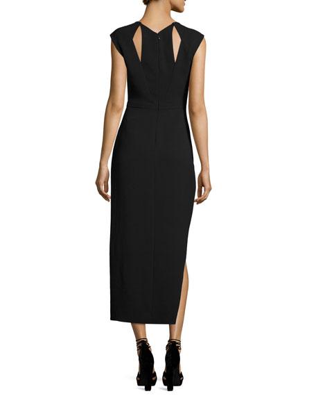 Round-Neck Asymmetric High-Low Crepe Cocktail Dress