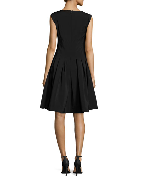 V-Neck Cap-Sleeve Fit-and-Flare Cocktail Dress