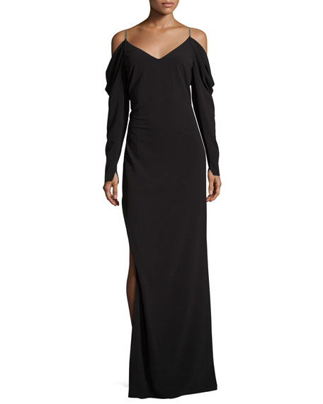 Cold-Shoulder Draped Crepe Evening Gown