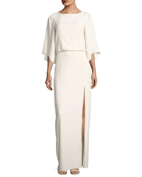 Bateau-Neck Blouson Evening Gown w/ Embroidery Back