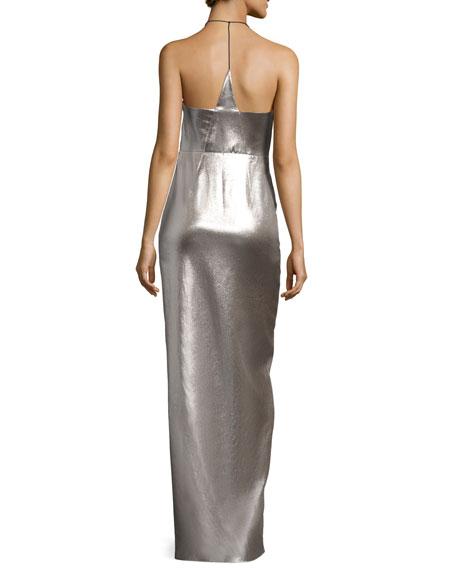 Plunging Halter-Neck Asymmetric Metallic Evening Gown
