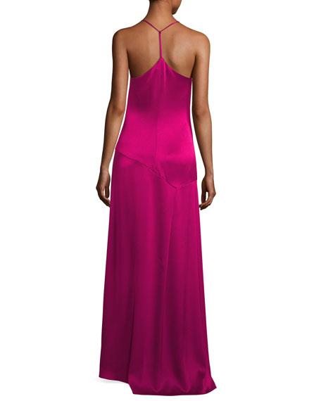 Sleeveless Halter Satin Slip Evening Gown