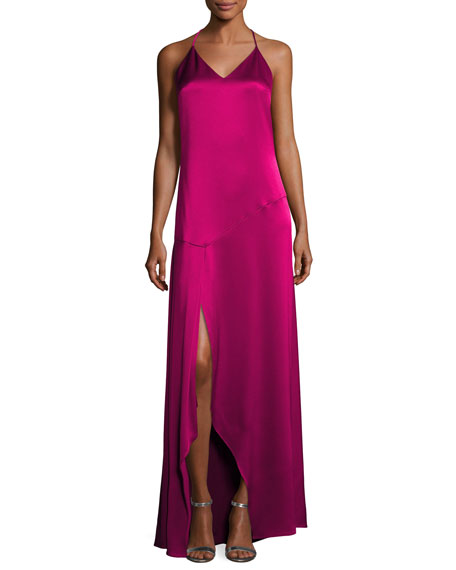 Sleeveless Halter Satin Slip Evening Gown