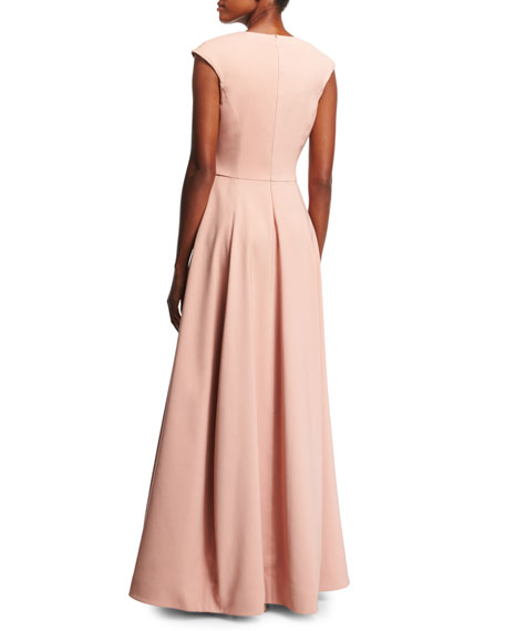 V-Neck Cap-Sleeve Silk Faille Evening Gown