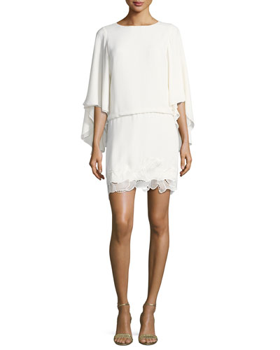Flowy Sleeve Boat-Neck Embroidered Blouson Cocktail Dress