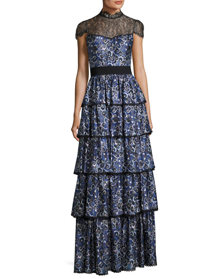 Image 1 of 1: McKee Mock-Neck Tiered Printed Satin Maxi Dress w/ Lace