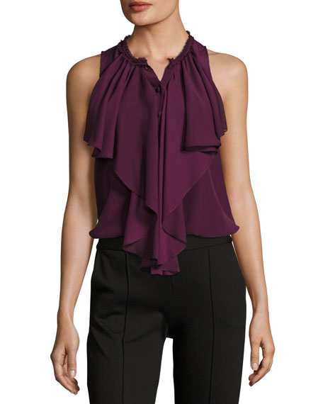 Elisa High-Neck Ruffle Silk Blouse