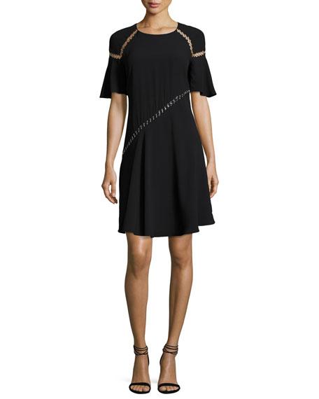 Mitchell Round-Neck Short-Sleeve Dress w/ Ring Trim