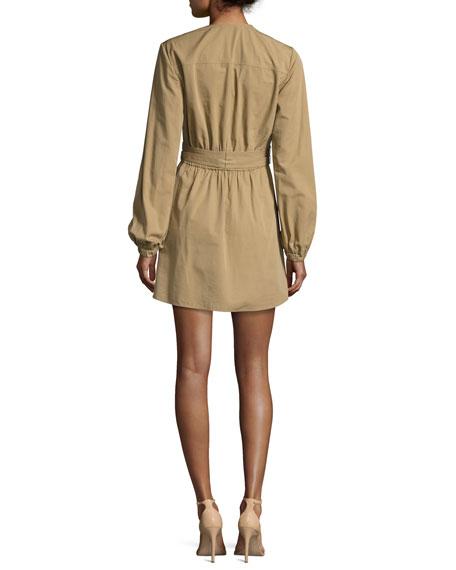 Jezebel V-Neck Belted Poplin Dress