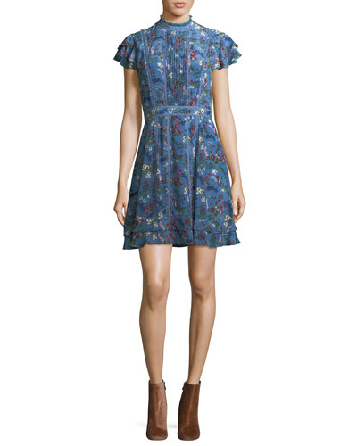Marta High-Neck Floral-Printed Mini Dress