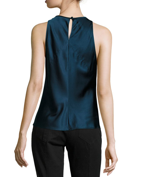 Geneva Halter Sleeveless Satin Top