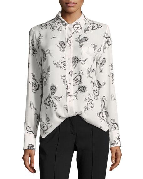 Scott Button-Front Long-Sleeve Silk Blouse