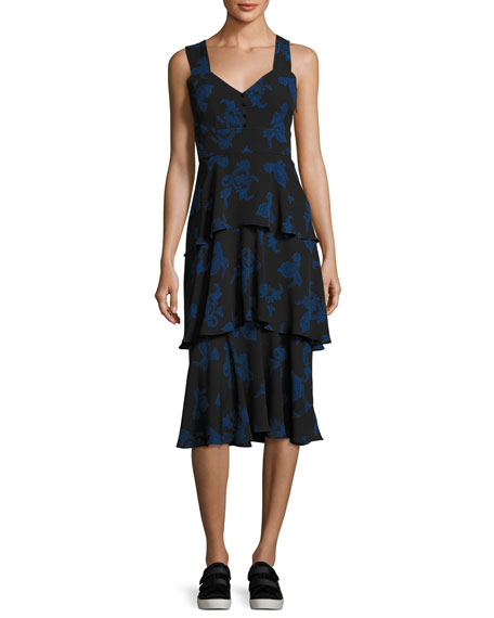 A.L.C. Luna Sleeveless Paisley Tiered Midi Dress