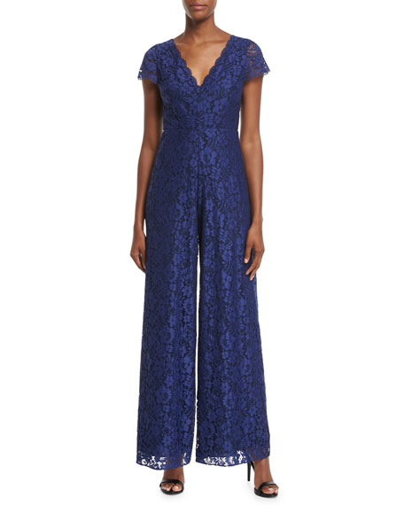 Mariam V-Neck Wide-Leg Lace Jumpsuit