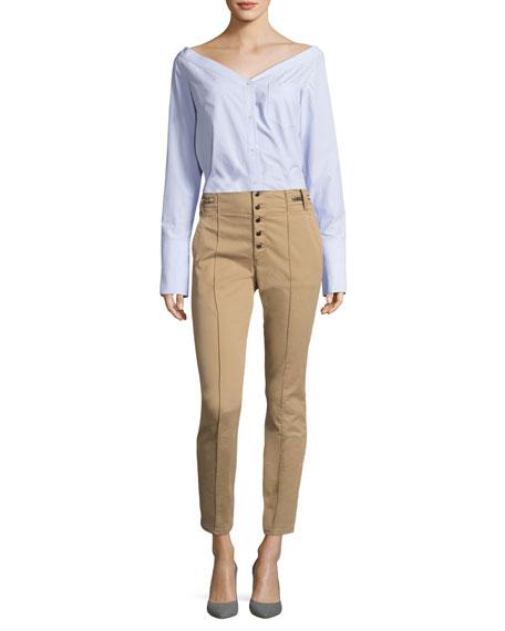 Rowan High-Waist Skinny Cotton Pants
