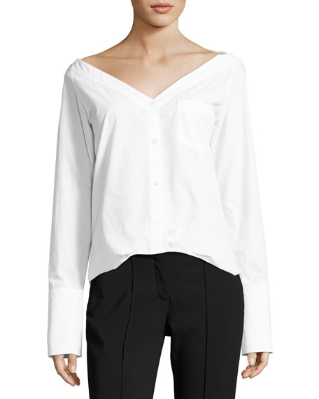 A.L.C. Wes Bateau-Neck Long-Sleeve Poplin Top