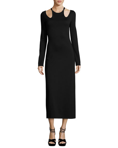 Jessa Long-Sleeve Cutout Ponte Midi Dress