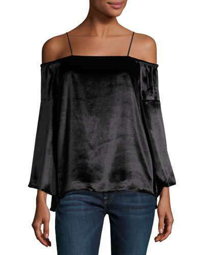 Prena Cold-Shoulder Bell-Sleeve Velvet Blouse