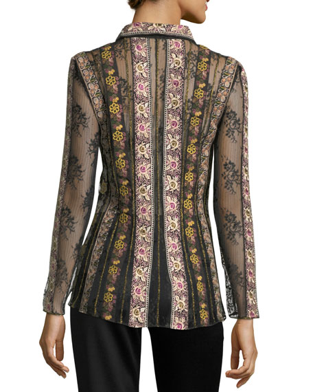 Dalia Embroidered Fitted Hook-Eye Shirt