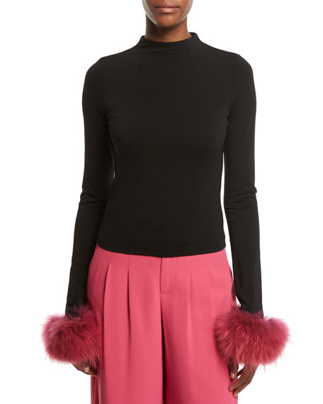 Haylen Mock-Neck Long-Sleeve Top w/ Fur Cuffs