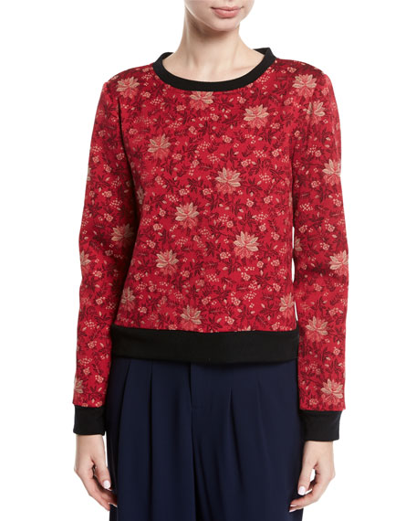 Mary-Lou Floral-Print Pullover Sweatshirt