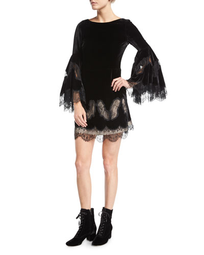 Leann Bell-Sleeve Velvet Tunic Dress w/ Lace
