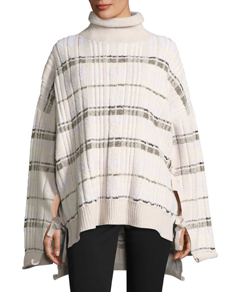 Abstract Float-Plaid Drape Back Knit Poncho