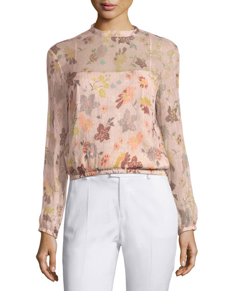 RED Valentino Long-Sleeve Sheer Floral-Print Lurex® Combo