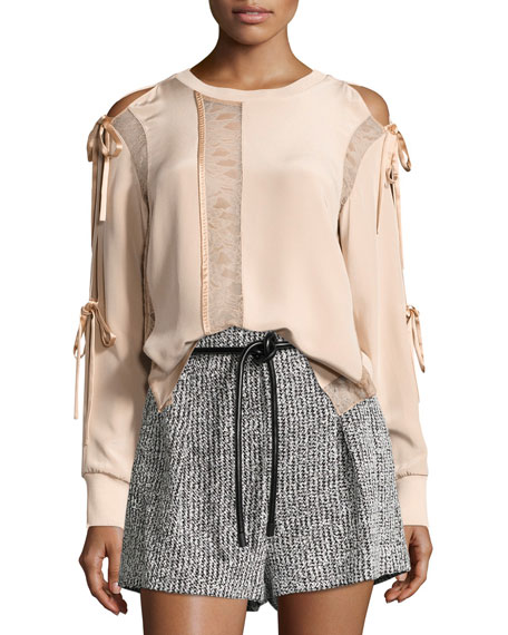 Long-Sleeve Silk Woven Blouse w/ Ties