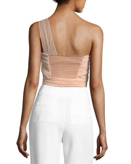 One-Shoulder Bow Faille Top