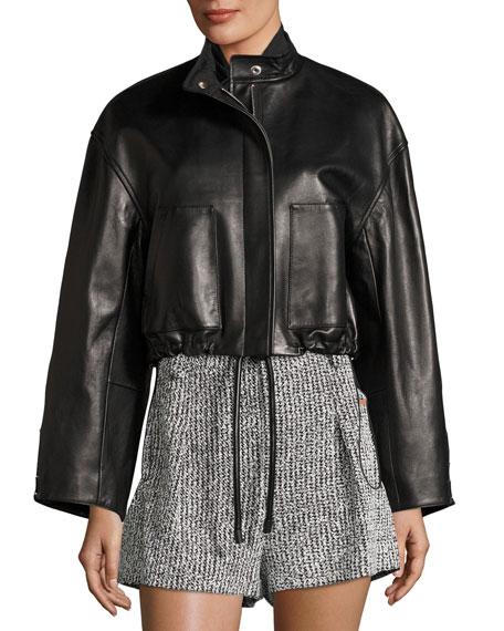 Cropped Lamb Leather Bomber Jacket