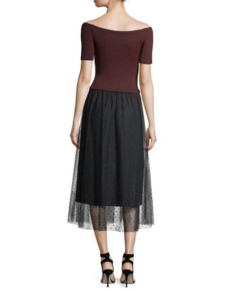 Striped Lurex® Jersey Dress w/ Point d'Esprit Skirt